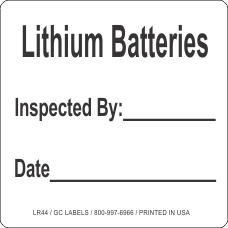 Lithium Batteries Inspected By ___ Date ____