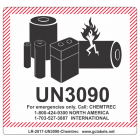 Lithium Battery Label LR27 2017 UN3090 Chemtrec®