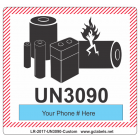 Lithium Battery Label LR27 2017 UN3090 Custom