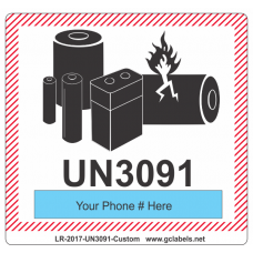Lithium Battery Label LR27 2017 UN3091 Custom