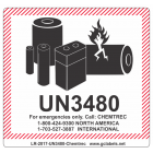 Lithium Battery Label LR27 2017 UN3480 Chemtrec