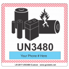 Lithium Battery Label LR27 2017 UN3480 Custom