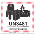 Lithium Battery Label LR27 2017 UN3481 Chemtrec