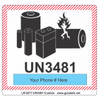Lithium Battery Label LR27 2017 UN3481 Custom