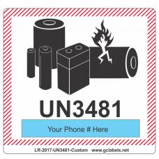 Lithium Battery Label LR27 2017 UN3481 Custom