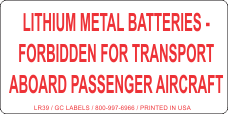 Lithium Metal Batteries Forbidden for Transport