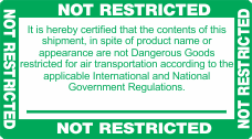 Not Restricted Green and White Label