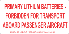 Primary Lithium Batteries Forbidden for Transport