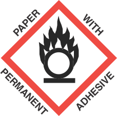4 inch x 4 inch GHS Flame Over Circle Paper Label