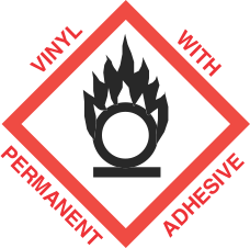 4 inch x 4 inch GHS Flame Over Circle Vinyl Label