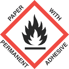 4 inch x 4 inch GHS Flame Paper Label