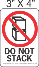 Pictorial Do Not Stack Label 3in x 4in