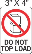 Pictorial Do Not Top Load Label 3in x 4in