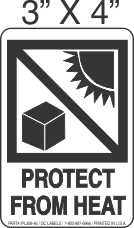 Pictorial Protect From Heat Label 3in x 4in