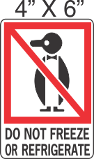 Pictorial Do Not Freeze Or Refrigerate Label 4in x 6in
