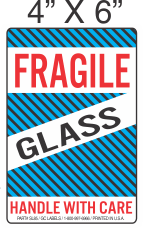 Pictorial Fragile Glass Red Blue and Black Label 4in x 6in