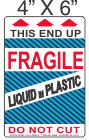 Pictorial Fragile Liquid in Plastic Label 4in x 6in