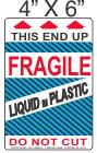 Pictorial Fragile Liquid in Plastic Label 4in x 6in