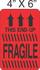 Pictorial Fragile This End Up Flourescent Red Label 4in x 6in