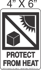 Pictorial Protect From Heat Label 4in x 6in