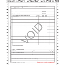Hazardous Waste Manifest Continuation Sheet 5-Part Continuous Computer Feed Form C5CON-100