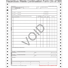 Hazardous Waste Manifest Continuation Sheet 6-Part Continuous ...