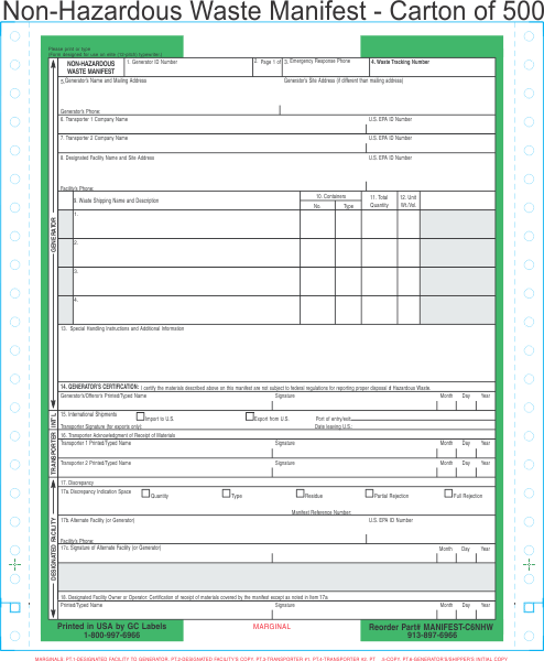 Non-Hazardous Waste Manifest 6-Part Continuous Computer Feed Form ...