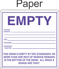 Empty By EPA Standards EPAEMPTY Paper Labels