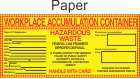 Hazardous Waste Blank-Workplace Accumulation Paper Labels HWL550P