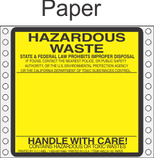 Hazardous Waste California Paper Labels HWL150P