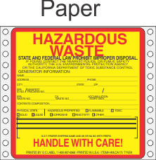 Hazardous Waste California Paper Labels HWL175P