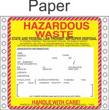 Hazardous Waste California Paper Labels HWL202CAP