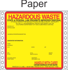 Hazardous Waste California Paper Labels HWL415CAP