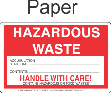 Hazardous Waste HWA-6x4 Paper Labels