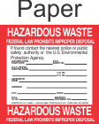 Hazardous Waste HWL-4x4 Paper Labels