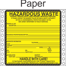 Hazardous Waste New Jersey Paper Labels HWL480NJP