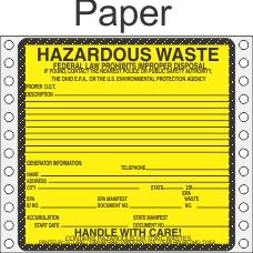 Hazardous Waste Ohio Paper Labels HWL485OHP