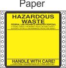 Hazardous Waste Paper Labels HWL160P