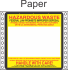Hazardous Waste Paper Labels HWL165P