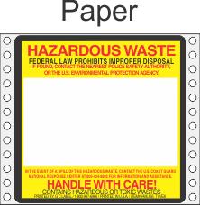 Hazardous Waste Paper Labels HWL165P
