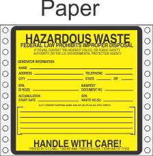 Hazardous Waste Paper Labels HWL170P