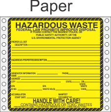 Hazardous Waste Paper Labels HWL200P