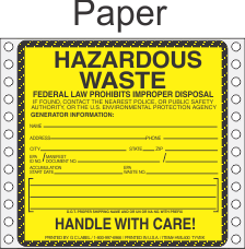 Hazardous Waste Paper Labels HWL400P