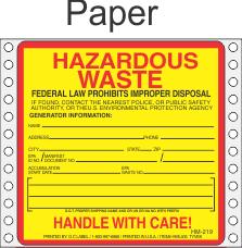 Hazardous Waste Paper Labels HWL405P