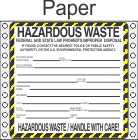 Hazardous Waste Paper Labels HWL410P