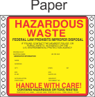 Hazardous Waste Paper Labels HWL415P