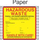 Hazardous Waste Paper Labels HWL415P