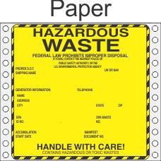 Hazardous Waste Paper Labels HWL440P