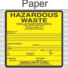 Hazardous Waste Paper Labels HWL450P