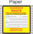 Hazardous Waste Paper Labels HWL500P